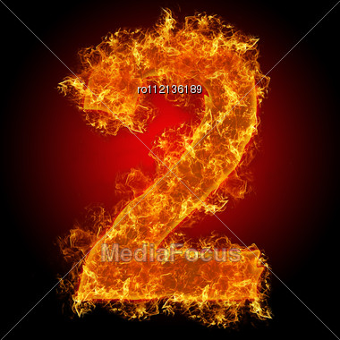 Fire Number 2 On A Black Background Stock Photo