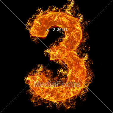 Fire Number 3 On A Black Background Stock Photo
