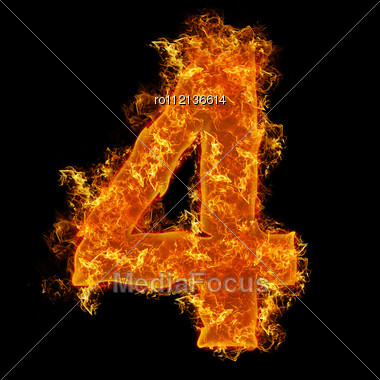 Fire Number 4 On A Black Background Stock Photo