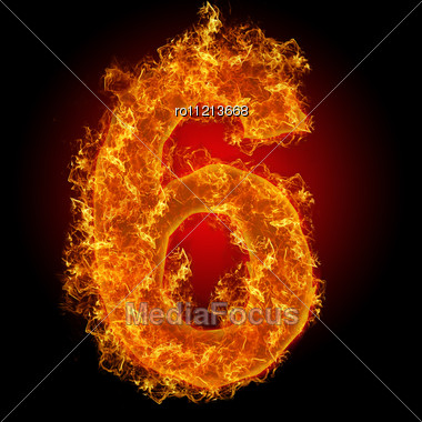 Fire Number 6 On A Black Background Stock Photo