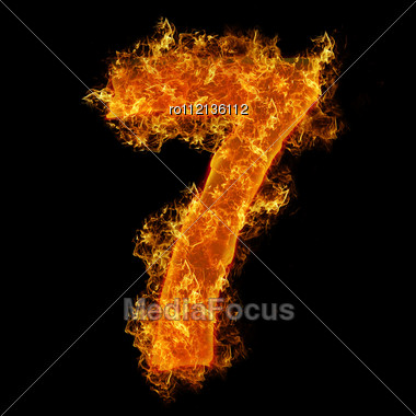 Fire Number 7 On A Black Background Stock Photo