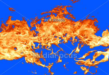 Fire On Blue Background Stock Photo