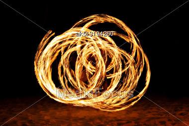 Fire Show At The Beach, Goa Stock Photo