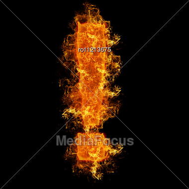 Fire Sign Exclamation Mark On A Black Background Stock Photo
