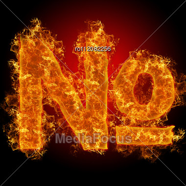 Fire Sign Number On A Black Background Stock Photo