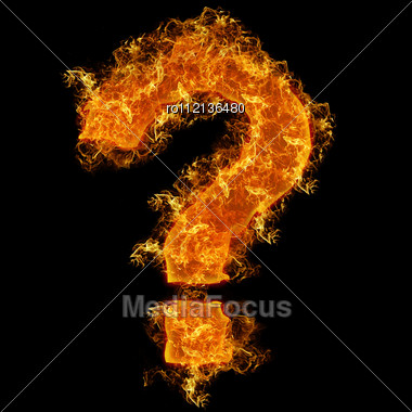 Fire Sign Query Mark On A Black Background Stock Photo
