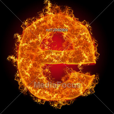 Fire Small Letter E On A Black Background Stock Photo