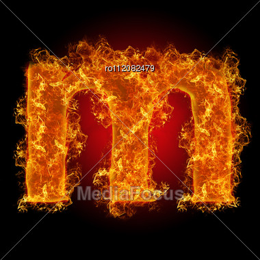 Fire Small Letter M On A Black Background Stock Photo