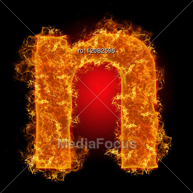 Fire Small Letter N On A Black Background Stock Photo