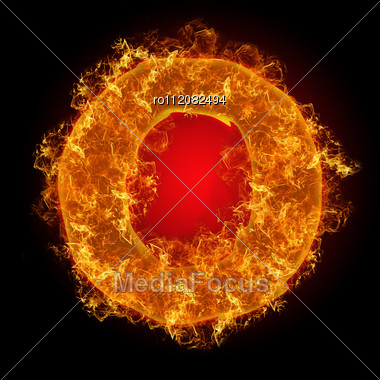 Fire Small Letter O On A Black Background Stock Photo