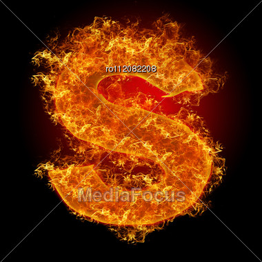 Fire Small Letter S On A Black Background Stock Photo