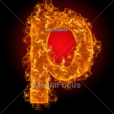 Fire Small Letter P On A Black Background Stock Photo