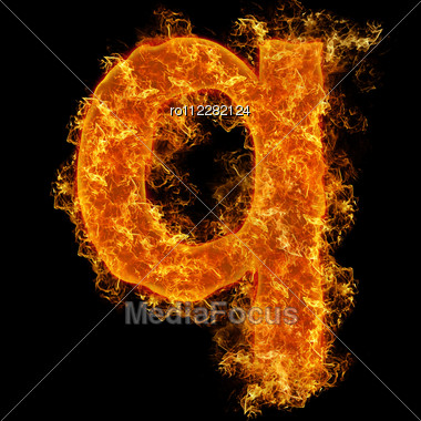 Fire Small Letter Q On A Black Background Stock Photo