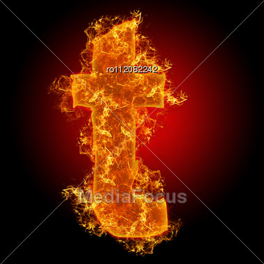 Fire Small Letter T On A Black Background Stock Photo