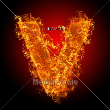 Fire Small Letter V On A Black Background Stock Photo