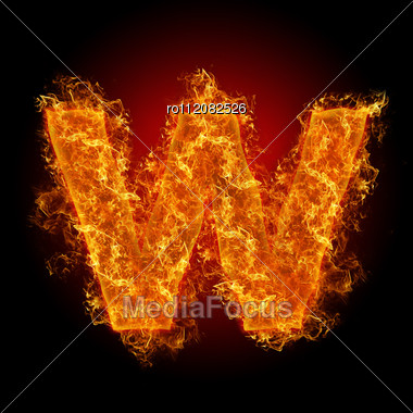 Fire Small Letter W On A Black Background Stock Photo