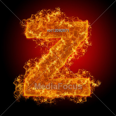 Fire Small Letter Z On A Black Background Stock Photo