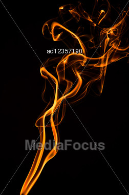Fire Smoke On Black Stock Photo