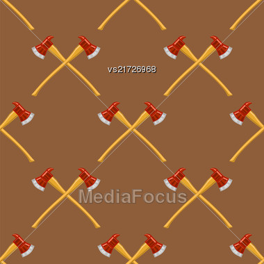 Firefighter Cross Axes SeAmless Pattern Isolated On Brown Background Stock Photo