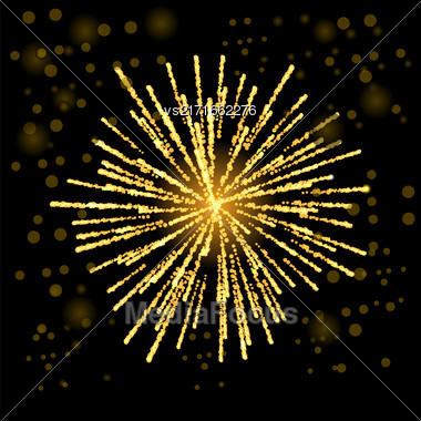 Firework Lights Up The Sky On Black Background Stock Photo
