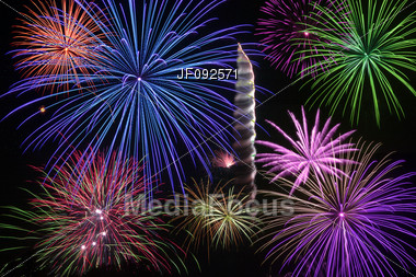 Fireworks Being Shot Off On Independence Day Stock Photo