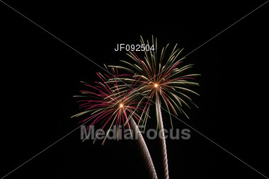 Fireworks During The 4th Of July Celebration Stock Photo