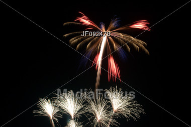 Fireworks Shot Off On The Forth Of July Stock Photo