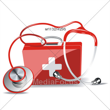 First Aid Kit Box With Stethoscope Isolated Over White Background Stock Photo