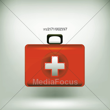 First Aid Kit Isolated On Grey Soft Background Stock Photo