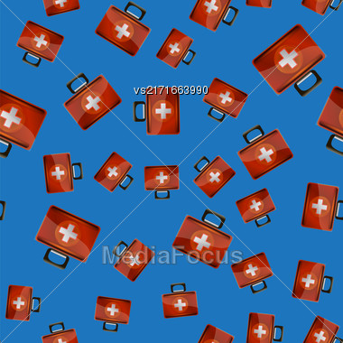 First Aid Kit Seamless Pattern On Blue Background. Medical Texture Stock Photo
