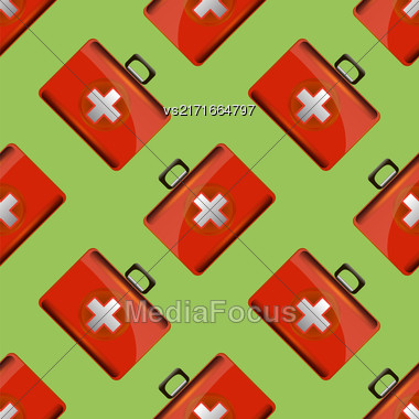 First Aid Kit Seamless Pattern On Green Backgrouns. Medical Texture Stock Photo