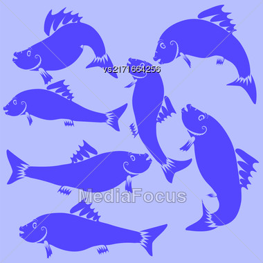 Fish Blue Silhouettes Isolated On Blue Background Stock Photo
