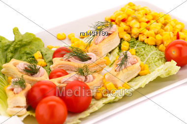 Fish Cream In Pastries, Sweet Corn, Cherry Tomato And Lettuce On White Plate Stock Photo