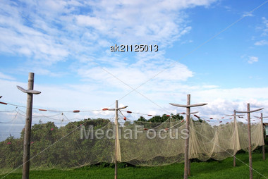 Fishing Networks On A Background Of The Blue Sky And Clouds Stock Photo