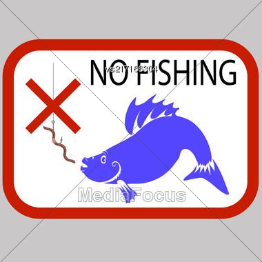 Fishing Prohibited Sign Isolated On Grey Background Stock Photo