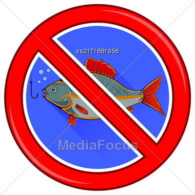 Fishing Prohibited Sign Isolated On White Background Stock Photo