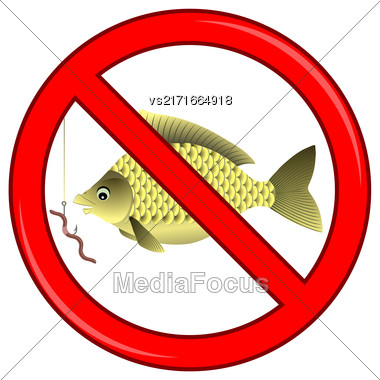 Fishing Prohibited Sign Isolated On White Background Stock Photo