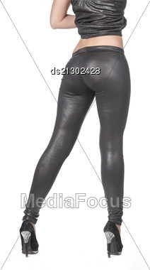 Fit Female Butt In Jeans, Isolated On White Stock Photo