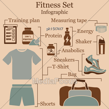 Fitness Set Infographics. EPS 10 Vector Illustration Without Transparency Stock Photo