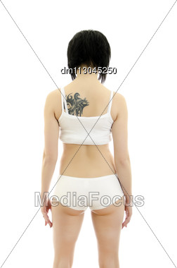Fitness Woman Portrait. Isolated On White Background. Stock Photo