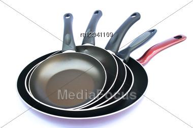 Five Pans Stock Photo