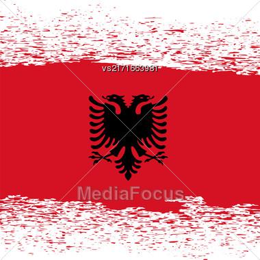Flag Of Albania. Red Flag Pattern. Grunge Albanian Flag Stock Photo