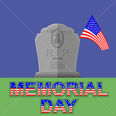 Flag Of America Flying Over Gravestone. Memorial Day Celebration Poster. Memorial Day American Flag. Memorial Day At The Cemetery Stock Photo