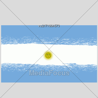 Flag Of Argentina. Grunge Argentinean Background. National Argentinean Flag Stock Photo
