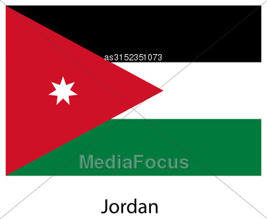 Flag Of The Country Jordan. Vector Illustration. Exact Colors Stock Photo