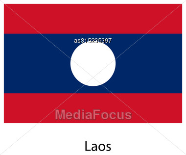 Flag Of The Country Laos. Vector Illustration. Exact Colors Stock Photo