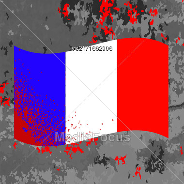 Flag Of France And Blood Splatter. Bloody French Flag On Grey Background Stock Photo