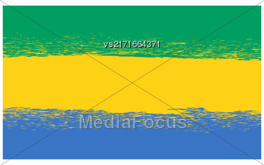 Flag Of Gabon. Symbol Has A Detailed Grunge Texture Stock Photo