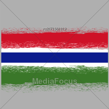 Flag Of Gambia. Symbol Has A Detailed Grunge Texture Stock Photo
