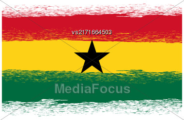 Flag Of Ghana. Symbol Has A Detailed Grunge Texture Stock Photo
